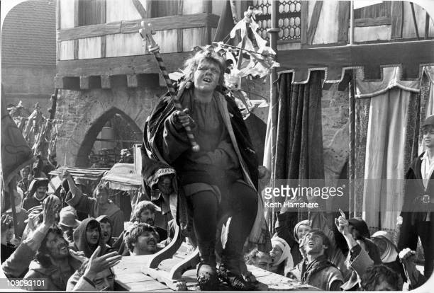 Welsh actor Anthony Hopkins as Quasimodo in the film 'The Hunchback of Notre Dame' aka 'Hunchback' 1982 Here he wears a crown and sceptre as 'The...