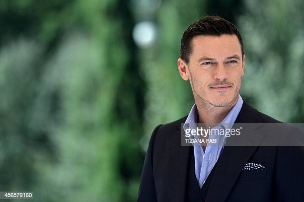 Welsh actor Luke Evans poses during a photo call for the film Dracula Untold on October 3 2014 in Rome The film by Irish director Gary Shore will be...
