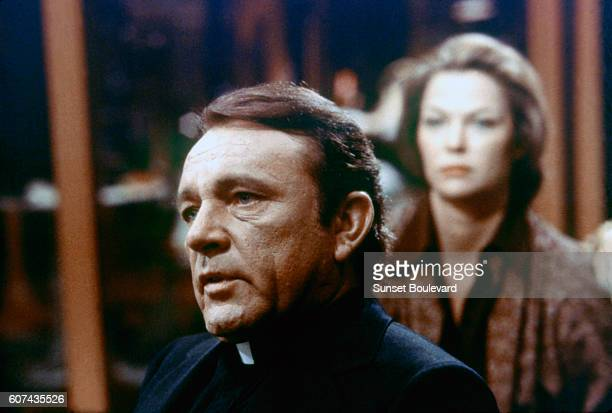 Welsh actor Richard Burton and American actress Louise Fletcher on the set of Exorcist II The Heretic directed by John Boorman