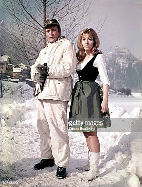 Welsh actor Richard Burton and Polish actress Ingrid Pitt on the set of Where Eagles Dare directed by Brian G Hutton