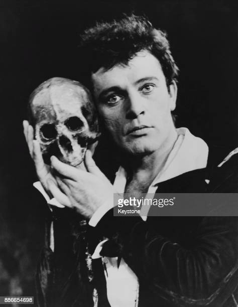 Welsh actor Richard Burton as Hamlet in an Old Vic Company production of Shakespeare's play at the Assembly Hall in Edinburgh, Scotland, during the...
