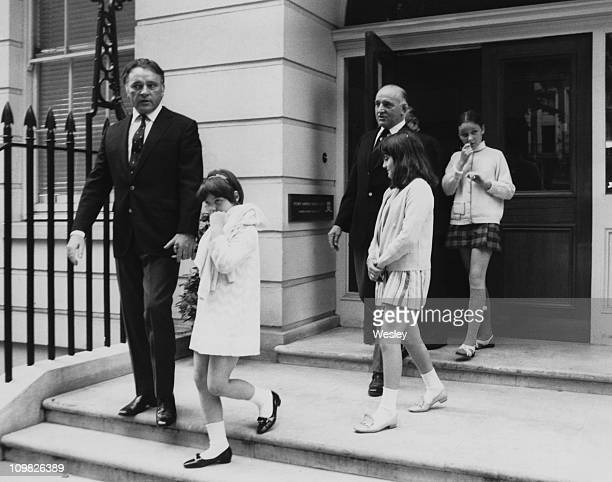 Welsh actor Richard Burton leaves the Fitzroy Nuffield Nursing Home in Mayfair London after visiting his wife actress Elizabeth Taylor 24th July 1968...