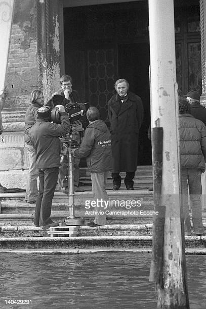 Welsh actor Richard Burton on the Wagner movie set Venice 1983