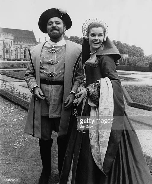 Welsh actor Richard Burton with Canadian actress Genevieve Bujold at Penshurst Place in Kent for the filming of 'Anne of The Thousand Days' 13th June...