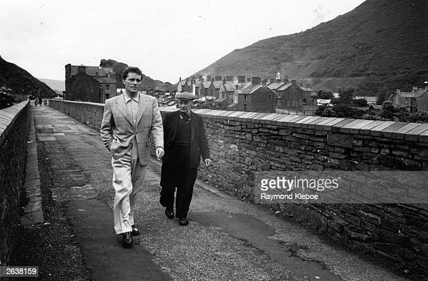 Welsh actor Richard Burton with his father in the mining village of Pontrhydfen Original Publication Picture Post 6582 King Among The Miners unpub