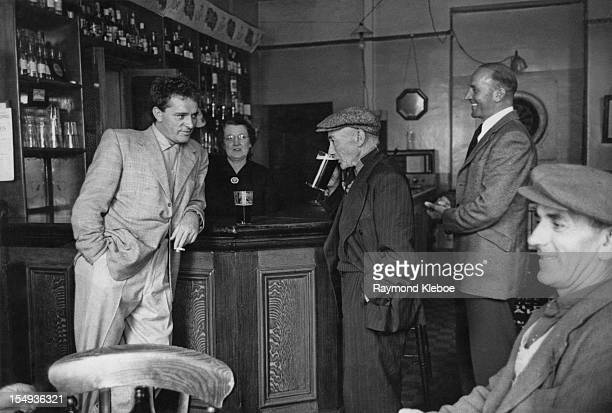 Welsh actor Richard Burton with his father Richard Jenkins at the Collier's Arms pub in his native Pontrhydyfen south Wales July 1953 Original...
