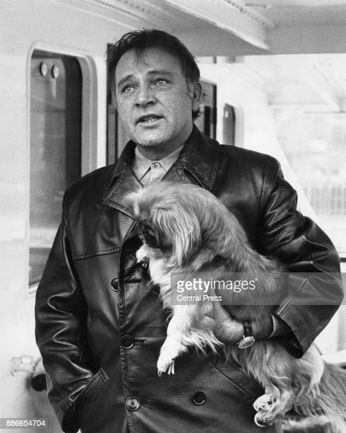 Welsh actor Richard Burton with one of his dogs on board the yacht 'Beatriz' of Bolivia off Tower Pier in London, 17th February 1968. The vessel was...