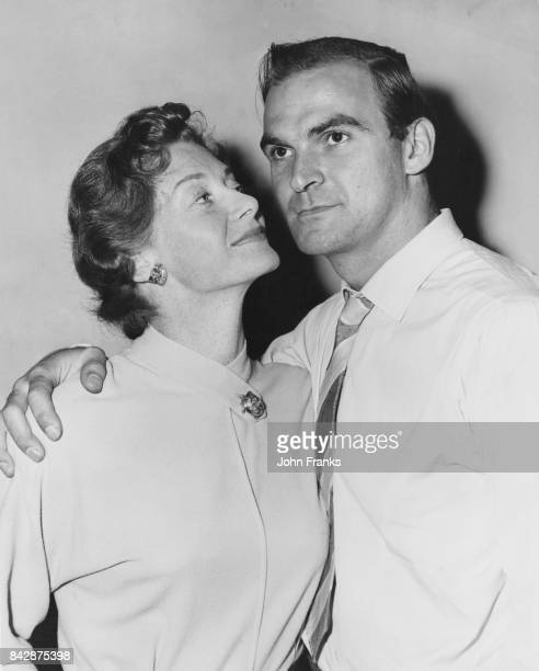 Welsh actor Stanley Baker rehearsing for Maurice Edelman's BBC television play 'Who Goes Home' with costar Helen Cherry 20th July 1956 Baker plays...