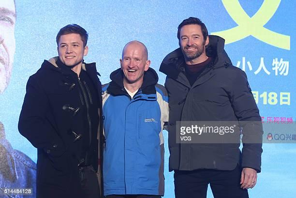 Welsh actor Taron Egerton British skier Michael Edwards better known as Eddie The Eagle Edwards and Australia actor Hugh Jackman attend a press...
