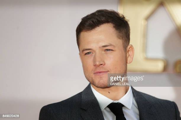 Welsh actor Taron Egerton poses upon arrival for the World premiere of Matthew Vaughn's 'KingsmanThe Golden Circle' in London on September 18 2017 /...