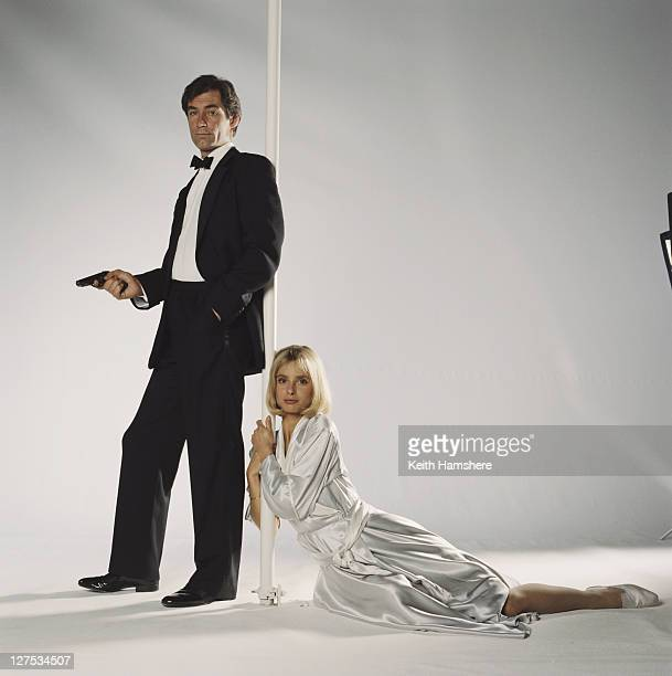 Welsh actor Timothy Dalton as 007 and actress Maryam d'Abo as Kara Milovy in a publicity still for the 1987 James Bond film 'The Living Daylights'...