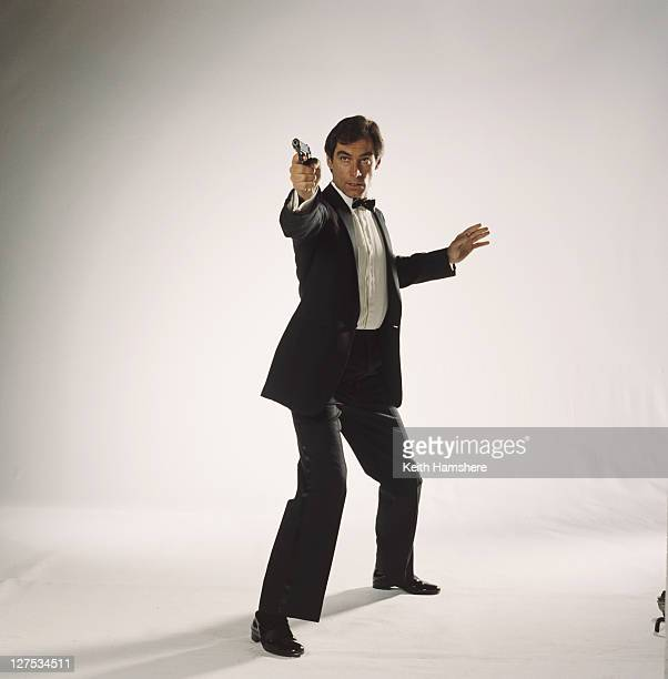 Welsh actor Timothy Dalton poses as 007 in a publicity still for the 1987 James Bond film 'The Living Daylights', 1986.