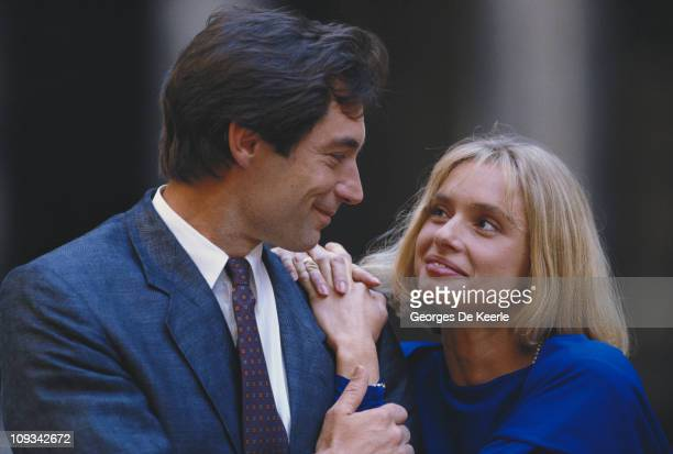 Welsh actor Timothy Dalton with his costar Maryam D'Abo during production of the James Bond film 'The Living Daylights' on location in Austria 5th...
