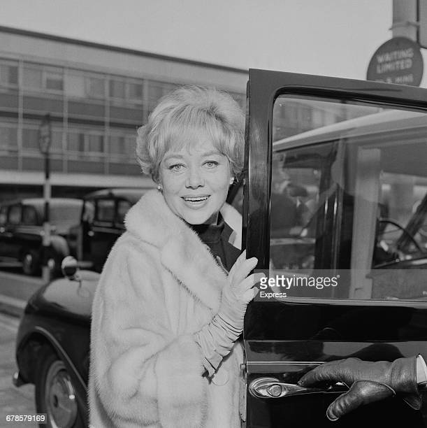 Welsh actress Glynis Johns enters a taxi at London Airport UK 15th May 1966