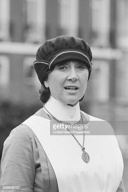 Welsh actress Nerys Hughes pictured dressed in character as Megan Roberts from the television series 'The District Nurse' in London on 7th April 1983