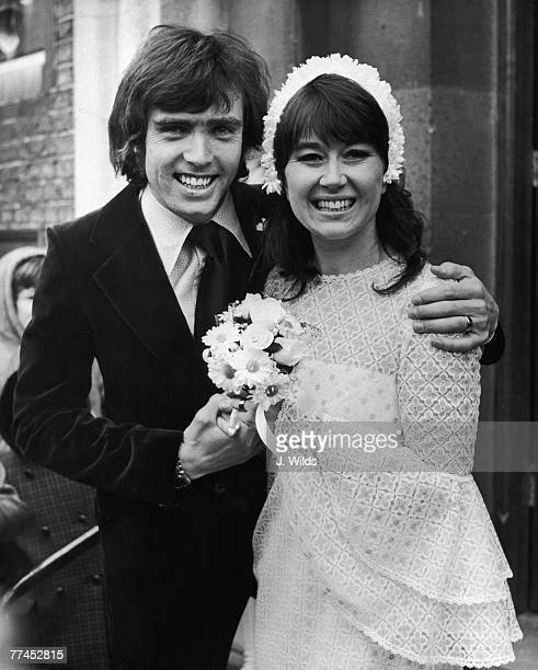 Welsh actress Nerys Hughes star of BBC sitcom 'The Liver Birds' marrying television cameraman Patrick Turley at a Methodist Church in Putney...