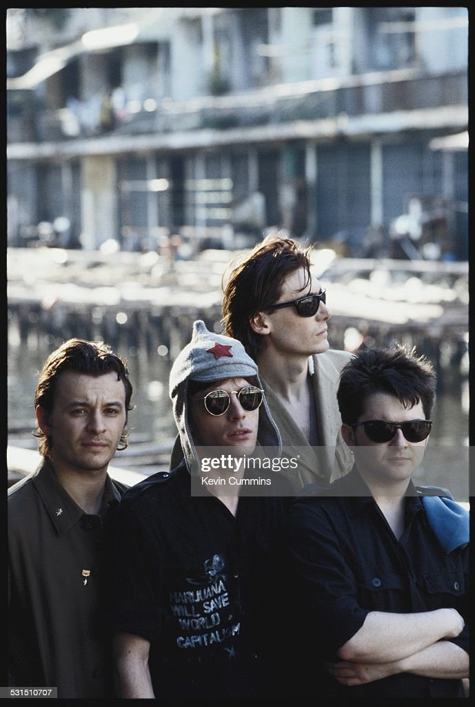 Welsh alternative rock group the Manic Street Preachers in Bangkok, Thailand, 27th April 1994. Left to right: singer James Dean Bradfield, guitarist Richey James Edwards, bassist Nicky Wire and drummer Sean Moore.