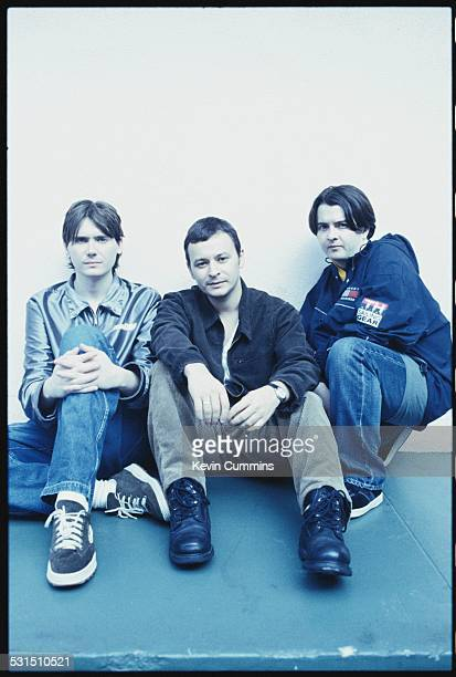 Welsh alternative rock group the Manic Street Preachers Los Angeles California September 1996 Left to right bassist Nicky Wire singer James Dean...