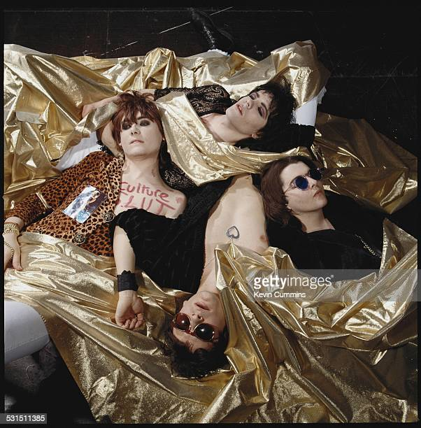 Welsh alternative rock group the Manic Street Preachers May 1991 Clockwise from top left bassist Nicky Wire guitarist Richey James Edwards drummer...
