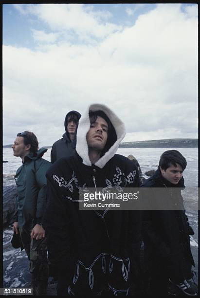Welsh alternative rock group the Manic Street Preachers on the beach at Swansea south Wales 19th August 1994 Left to right singer James Dean...