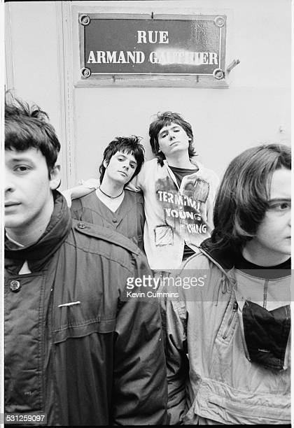 Welsh alternative rock group the Manic Street Preachers Paris 2nd March 1991 Left to right singer James Dean Bradfield guitarist Richey James Edwards...