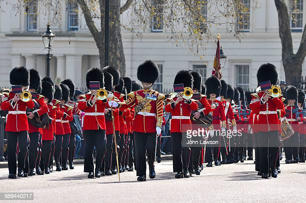 Welsh and Grenadier Guards marching band Changing of the guard Buckingham Palace London