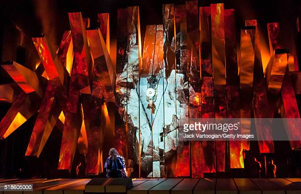 Welsh bassbaritone Bryn Terfel performs during the final dress rehearsal prior to the premiere of the Metropolitan Opera/Robert LePage production of...