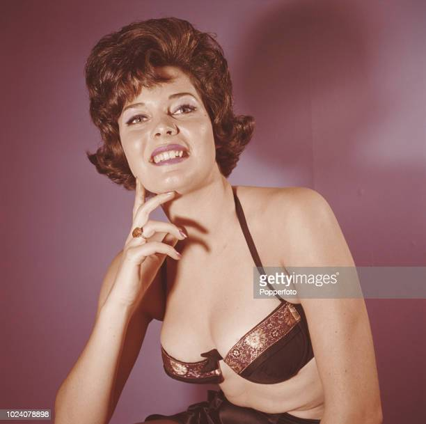 Welsh born beauty queen Rosemarie Frankland pictured wearing a bra top after winning the Miss World 1961 beauty pageant in London in November 1961