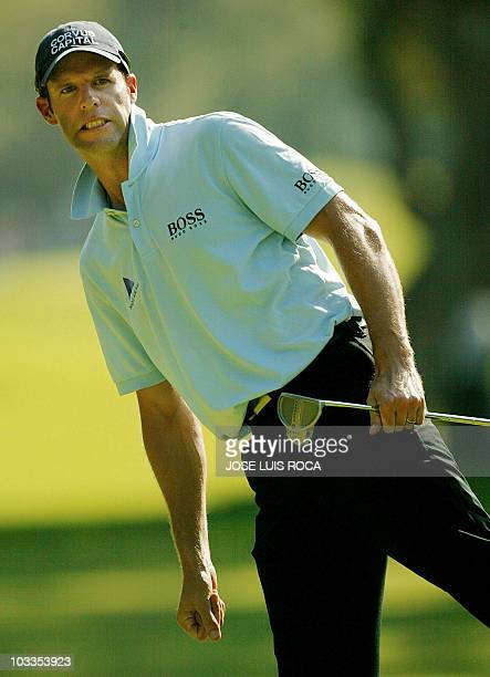 Welsh Bradley Dredge reacts on the 8th hole during the third round in the Volvo Master Championship at the Valderrama Golf Club 29 October 2005 in...