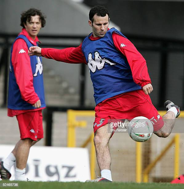 Welsh captain Ryan Giggs takes a shot at goal during Wales Football training at The Vetch Field Swansea City on March 22 2005 in Swansea Wales