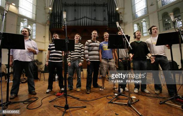 Welsh choir 'Only Men Aloud' who won BBC1's 'Last Choir Standing' competition during a recording session for their debut album at Air Studios in...