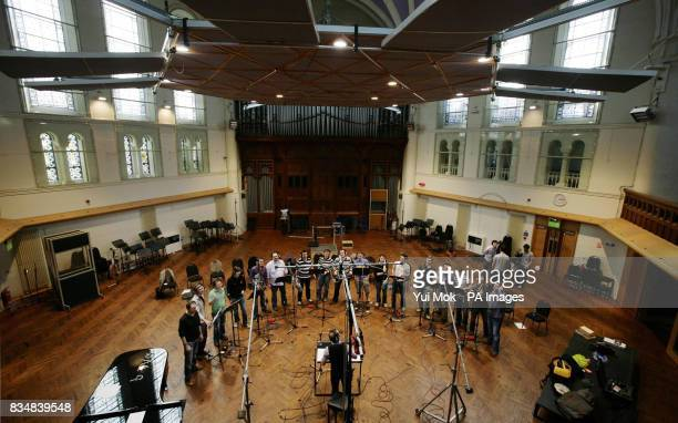 Welsh choir 'Only Men Aloud' who won BBC1's 'Last Choir Standing' competition with music director and conductor Tim RhysEvans during a recording...