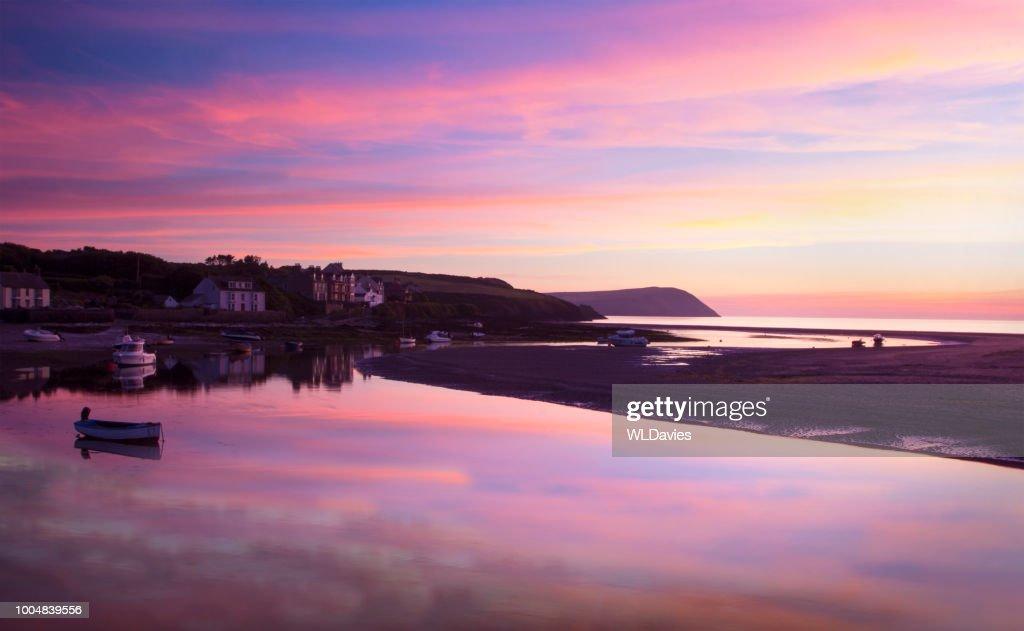 Welsh coastal sunset : Stock Photo