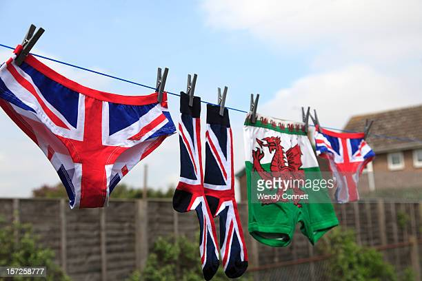 welsh dragon union jack knickers laundry - drying stock pictures, royalty-free photos & images
