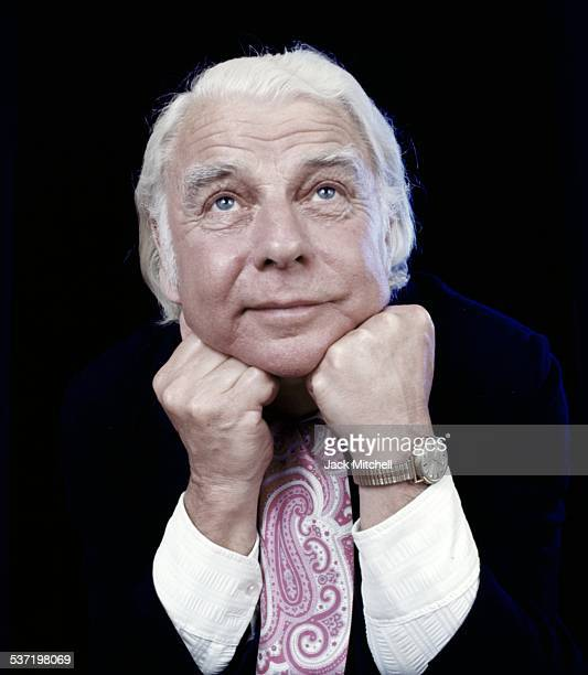 Welsh dramatist and actor Emlyn Williams photographed in 1974