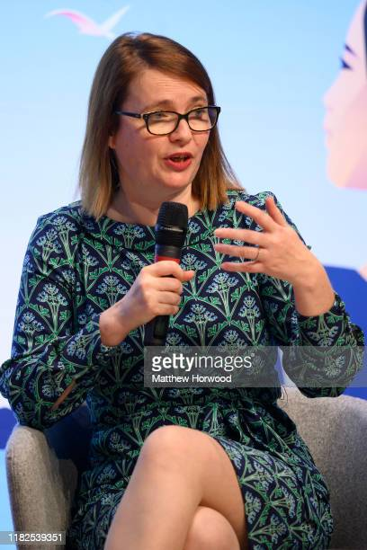 Welsh Education Minister Kirsty Williams speaks during a visit by Hillary Clinton Former First Lady and US Secretary of State to Swansea University...