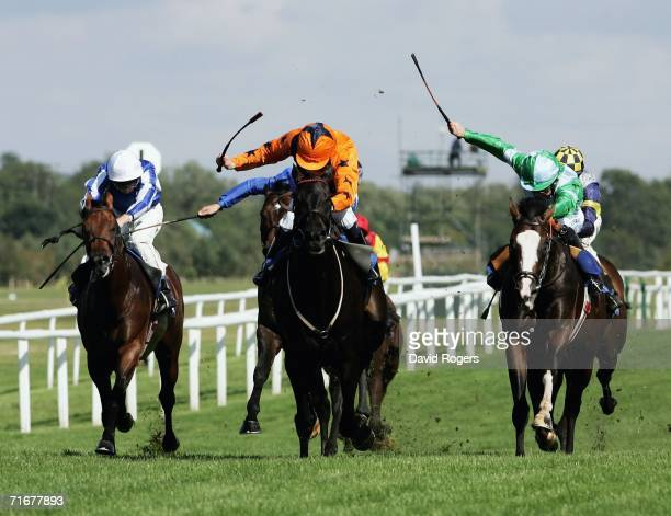 Welsh Emperor ridden by Jamie Spence races away from Jeremy ridden by Michael Kinane to win the Sportsman Newspaper Hungerford Stakes at Newbury...