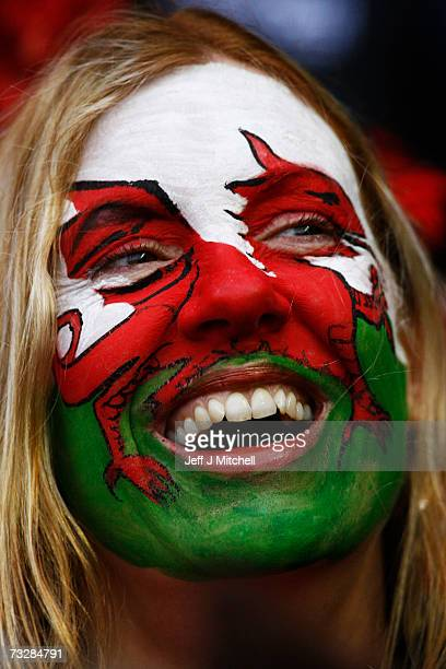 Welsh fan shows off her country's colours prior to the start of the RBS Six Nations match between Scotland and Wales at Murrayfield Stadium on...