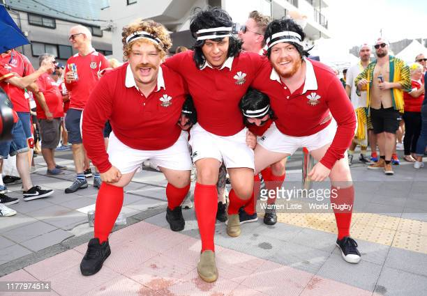 Welsh fans are pictured ahead of the Rugby World Cup 2019 Group D game between Australia and Wales at Tokyo Stadium on September 29 2019 in Chofu...