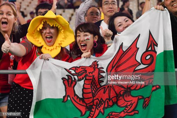Welsh fans celebrate their victory in the Rugby World Cup 2019 Group D game between Wales and Fiji at Oita Stadium on October 9 2019 in Oita Japan