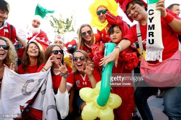 Welsh fans enjoy the pre match atmosphere outside the stadium prior to the Rugby World Cup 2019 Bronze Final match between New Zealand and Wales at...