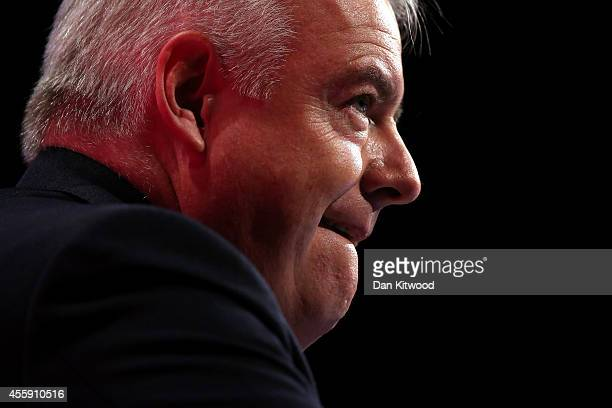 Welsh First Minister Carwyn Jones delivers a speech to delegates on day two of the Labour party Conference on September 22 2014 in Manchester England...