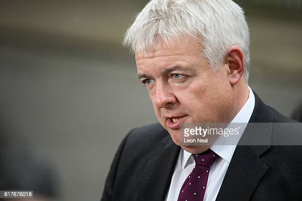 Welsh First Minister Carwyn Jones speaks after a meeting between British Prime Minister Theresa May and the leaders of the three devolved governments...