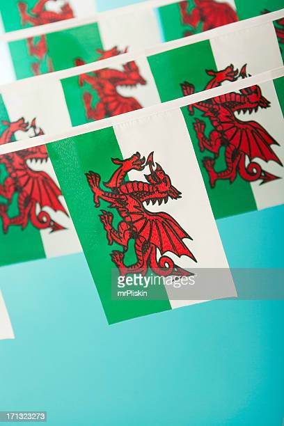 welsh flag celebratory bunting - welsh flag stock pictures, royalty-free photos & images