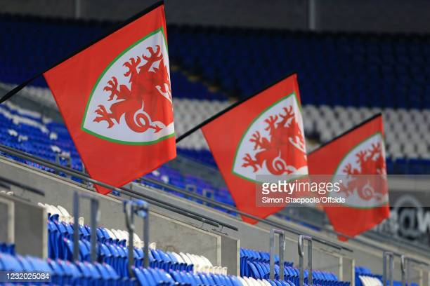 Welsh flags hanging at the Cardiff City Stadium during the FIFA World Cup 2022 Qatar qualifying match between Wales and Czech Republic at Cardiff...