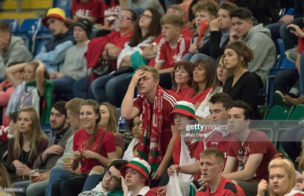 Football Fans Gather At The Cardiff Fanzone To Watch Wales V Portugal In The Euro 2016 Semifinals : News Photo