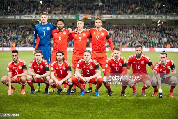 Welsh football national team poses for photo during the 2018 FIFA World Cup Qualifying Round Group D match between Republic of Ireland and Wales at...