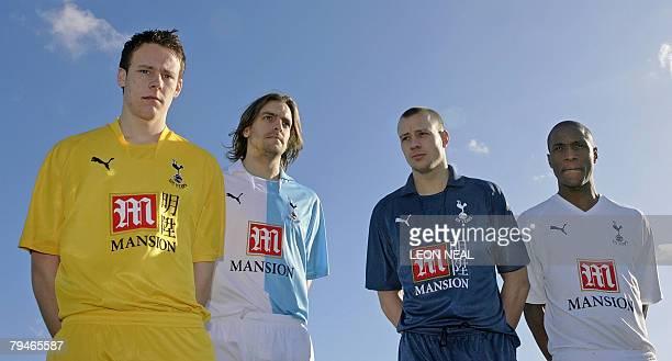 Welsh footballer Chris Gunter English footballer Jonathan Woodgate Scottish footballer Alan Hutton and Brazil's Gilberto pose for photographers as...