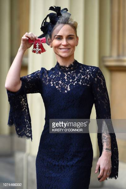 Welsh footballer Jess Fishlock poses with her medal after being appointed a Member of the Order of the British Empire for services to womens football...