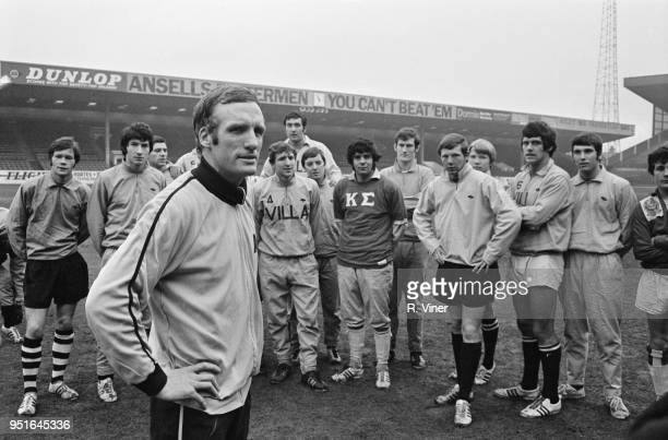 Welsh former soccer player and manager Vic Crowe with Aston Villa FC players UK 23rd January 1970